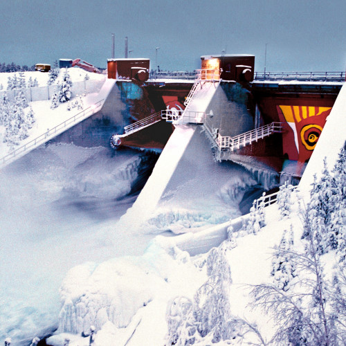 The Akkats hydropower plant on the Lule River, Sweden.