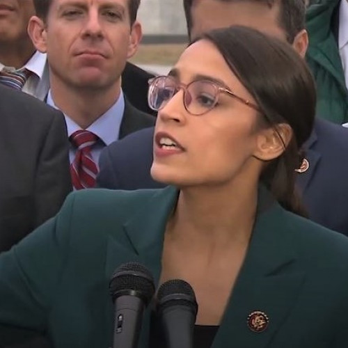 US Representative Alexandria Ocasio-Cortez, Democrat of New York speaks during a press conference...