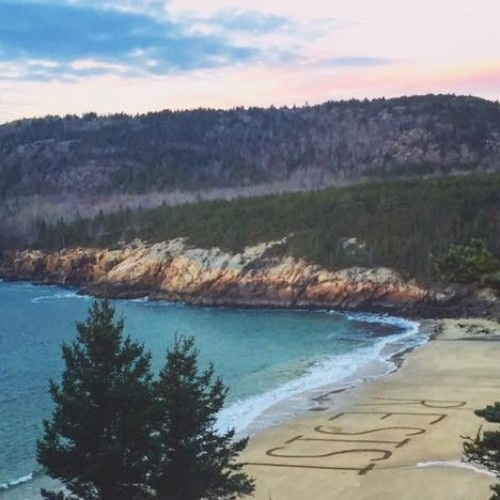 Melissa Relyea Ossana '91 was one of 12 people who helped carve this message onto Sand Beach in Acadia National Park....