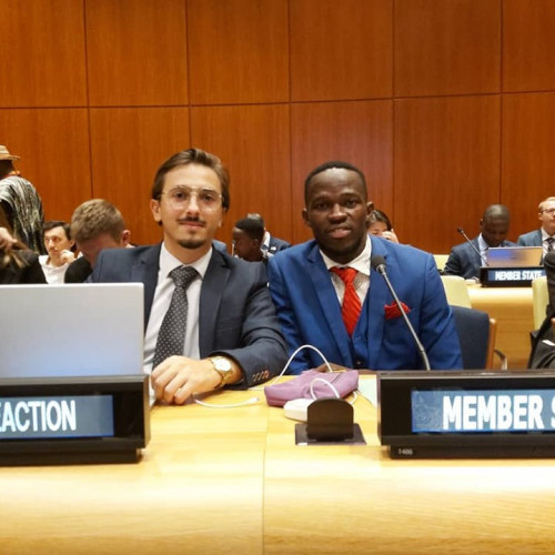 Agim Mazreku '20, left, at the first-of-its-kind United Nations Youth Climate Summit.