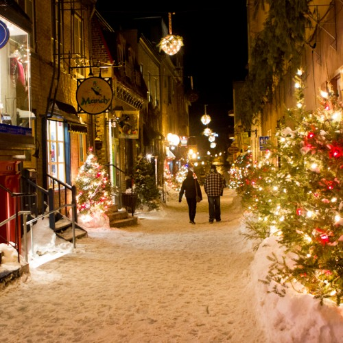 Too cute streets glow with holiday lights. The celebrating doesn't end January 1st; in Québec, they celebrate all winter ...