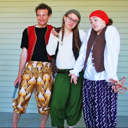 Bethany Anderson as One-Eyed Rosy with the pirate-clowns,  right to left, Janoah Bailin as Giggs, Maddie Hoeppner as Bosun...