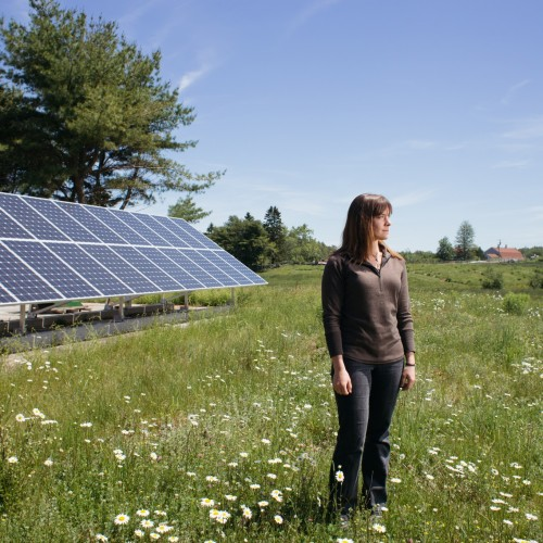 PHOTO: TRISTAN SPINSKI     Saran Peetz '15, is driven to work with renewable energy at a community level.