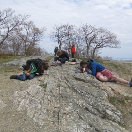 COA students translating their rock and mineral identification skills from the classroom to the field, at Camden Hills Sta...
