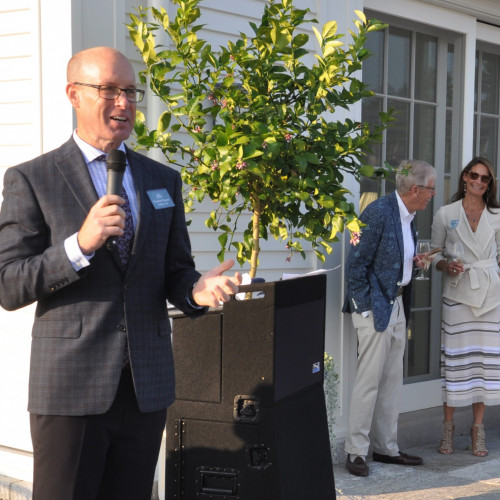 College of the Atlantic President Darron Collins '92 celebrates the announcement of the sch...