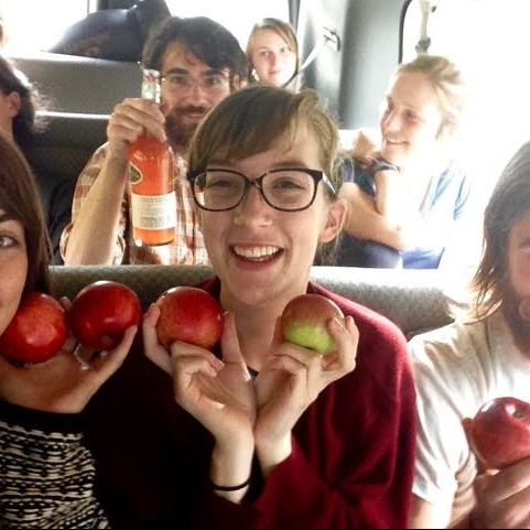 "Claire Jordy returning from a 2-day field trip to Vermont to study apples as part of the course ""The History of Applesâ€..."