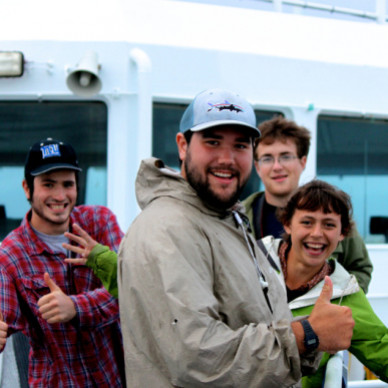 College of the Atlantic students show enthusiasm on their way over to Samsø Island on the ferry.