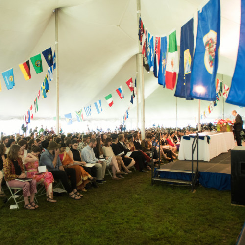 Commencement at College of the Atlantic is held under a tent on the North Lawn.
