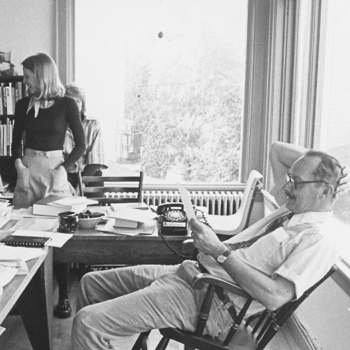 College of the Atlantic founding president Ed Kaelber in his office with students during the early days of COA.