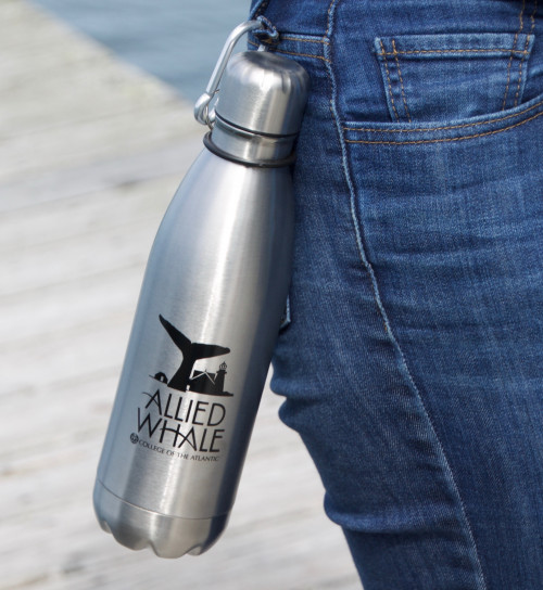 "Allied Whale's <a href=""/allied-whale/allied-whale-store/"" target=""_blank"" rel=""noopener noreferrer"">new store</a> features branded water bottles and other merchandise. All of Allied Whale's merchandise is sourced from Maine and the rest of New England, and is shipped in recyclable and biodegradable packaging from Eco Enclose."