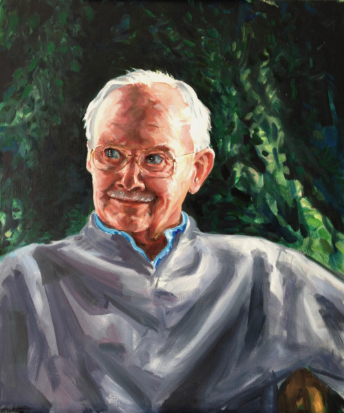 Edward Kaelber, depicted here in a recent painting by early College of the Atlantic faculty member Roc Caivano, was active and involved in many aspects of life on Mount Desert Island, a place that he loved.