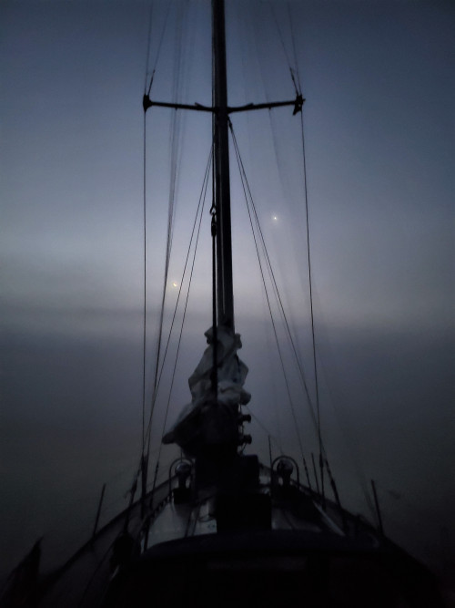 View from the deck of River Gull on a fogbound night.