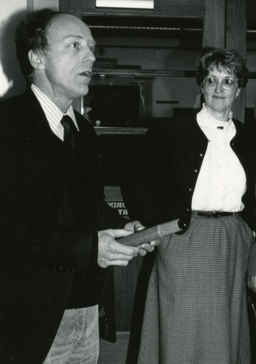 COA creative writing professor Bill Carpenter with campus librarian Marcia Dworak. The two were part of successful efforts to rebuild the library, and keep the college open, after a devastating fire in 1983.