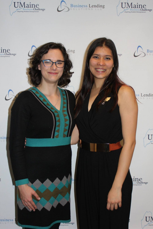 "Grace Burchard '17, left, and Anita van Dam '18, right, at the <a href=""/live/news/1442-coa-startup-wins-umaine-business-challenge"" target=""_blank"" rel=""noopener noreferrer"">UMaine Business Challenge on</a> in June 2017 after winning $5,000 in seed-funding and another $5,000 in in-kind services for ReProduce."