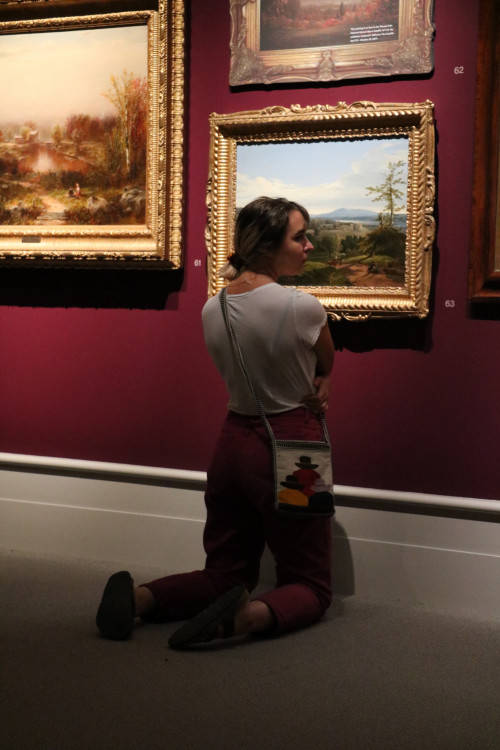 Leigh Rankin '20 takes a closer look at a piece at the Albany Institute of History and Art. This ...