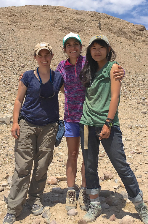COA earth sciences professor Dr. Sarah Hall, left, and seniors Alba Mar Rodriguez Padilla '18 and Gemma Venuti '18 during a ten-day research trip to the Atacama Desert of Southern Peru.