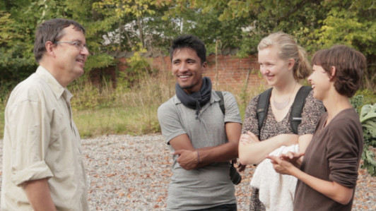 COA students, second from left, Surya Karki, of Madi Mulkharkh, Nepal; Paige Nygaard, of West Bat...