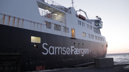 The ferry from Kalundburg arriving at Kolby Kas, Samsø on Sunday evening carrying participants i...