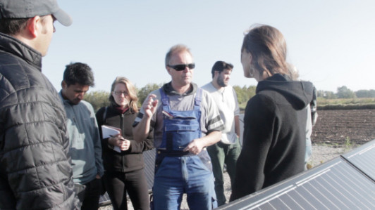 Energy consultant Bernd Garbers gives a tour of this solar electric set up. Sept 27.