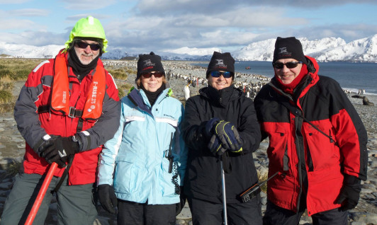 Allied Whale associate director Judy Allen, center left, on a recent research expedition to the Subantarctic.