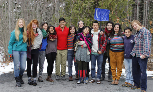 Members of Earth in Brackets — the student-run environmental group at College of the Atlantic ⮮.