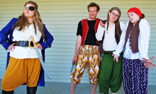 Bethany Anderson as One-Eyed Rosy with the pirate-clowns, right to left, Janoah Bailin as Giggs, Maddie Hoeppner as Bosun, Colleen Courtney as Pele in Gina Sabatini's The Jolly Mon.