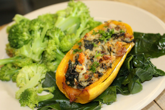 Roasted delicata squash stuffed with kale, rice, quinoa, walnuts and gruyere cheese, served with local broccoli (squash and kale from COA's Beech Hill Farm) makes for a delicious lunch at Take-a-Break.