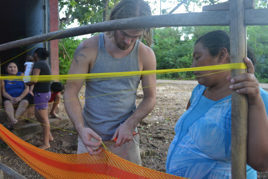 Kitt learning how to weave hammocks in Ek Balam