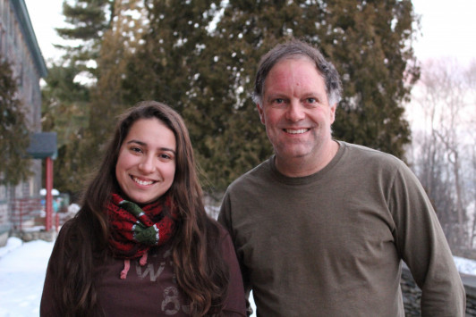 Aura Silva '18 and economics professor Davis Taylor present their work on sustainable development at COA's Human Ecology Forum Jan. 19.