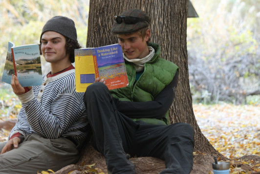 Galen Hecht '16 (left) and Mark Fawcett-Atkinson '17 reading up in preparation for their documentary about the lands and waters of the Chama River Watersheds.