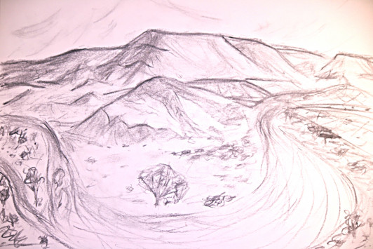 Illustration of a bend in the Chama River by Galen Hecht '16.