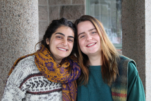 Moni Ayoub '19, left, and Anđela Rončević '19, are the recipients of a $10,000 Projects for Peace grant from the Davis United World Scholars Program. The pair will travel to Barsa, Lebanon to create a recycling program.