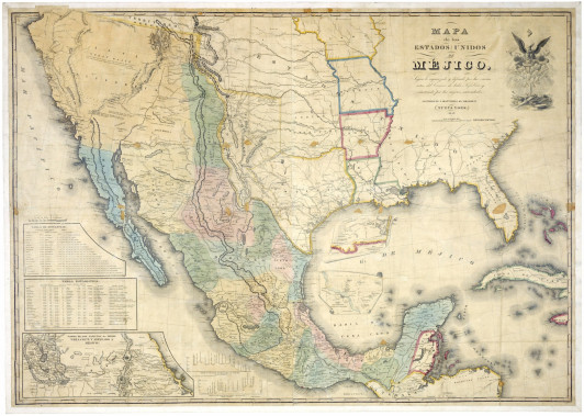 Map of the US and Mexico by J. Distrunell, 1847.