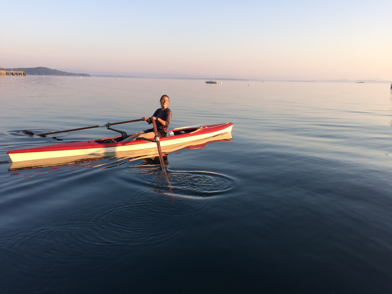 COA student Julie Bowser '17 single sculling in Frenchman Bay.