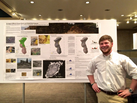 "Spencer Gray '17 presenting his work, ""Geology of Mt. Desert Rock and Great Duck Island,"" at the Northeastern Section of the Geological Society of America's 51st annual meeting in Albany, NY."