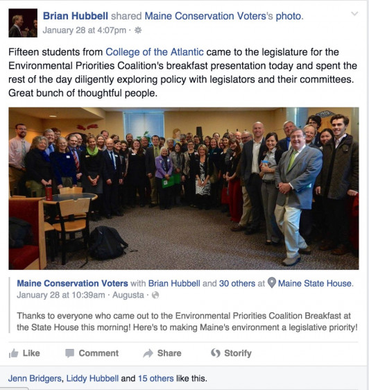 Maine State Representative Brian Hubbell posted this on his Facebook page shortly after the trip.