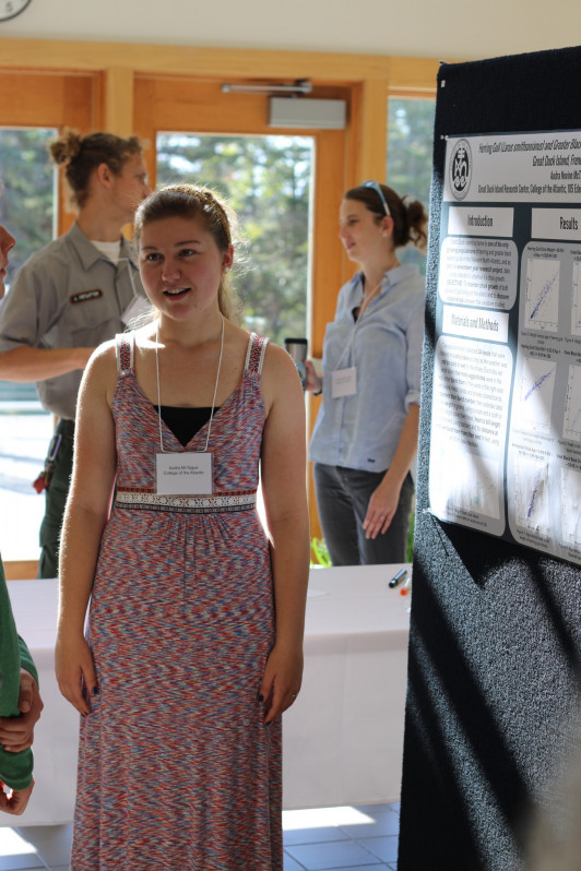 Audra McTague '19 discusses her research at the Schoodic Institute.