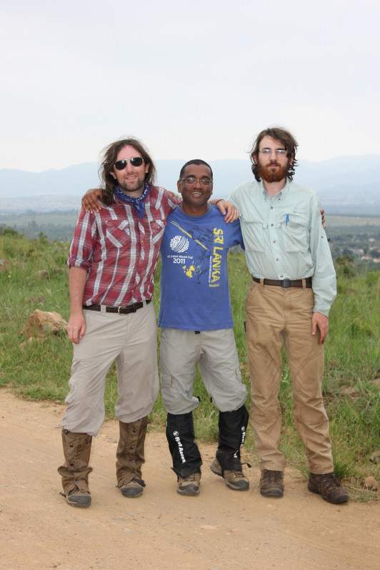 Nate Pope '07 (left), Dr. Nishanta Rajakaruna '94, and Ian Medeiros '16 while on an expedition in South Africa studying lichen diversity.