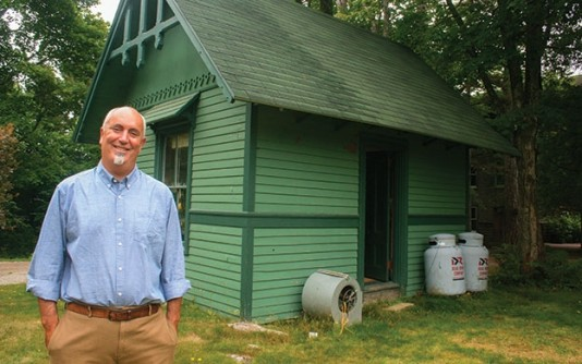 Jay Friedlander, founder of College of the Atlantic's Sustainable Business Program, stands in front of the Bar Harbor college's version of the Silicon Valley garage, The Hatchery, an incubator for student entrepreneurs.