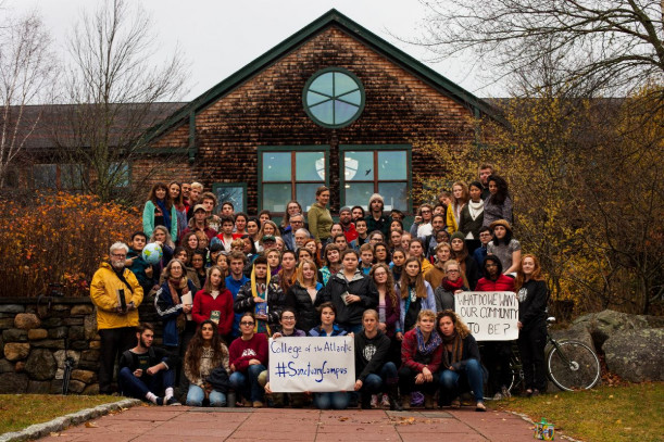 College of the Atlantic students, staff, and faculty stand in solidarity with the Sanctuary Campus movement in November 2016.