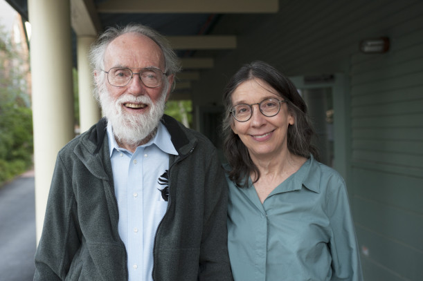 Evolutionary ecologist Dr. Dan Janzen and his wife and research partner, Dr. Winnie Harlow, stand outside of College of the Atlantic Gates Community Center.