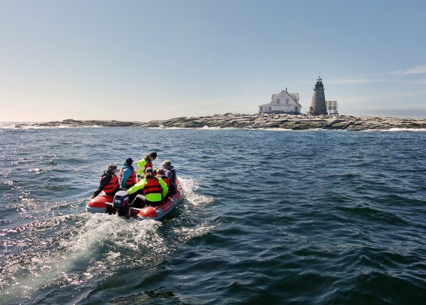 "Students use a rigid hull inflatable to travel from College of the Atlantic's MV Osprey to the <a href=""/islands/mount-desert-rock/"">COA Edward McC. Blair Marine Research Station</a> on Mount Desert Rock. The treeless island, 25 miles out to sea, is owned by the College and is used for students and faculty research into marine mammals and seabirds."