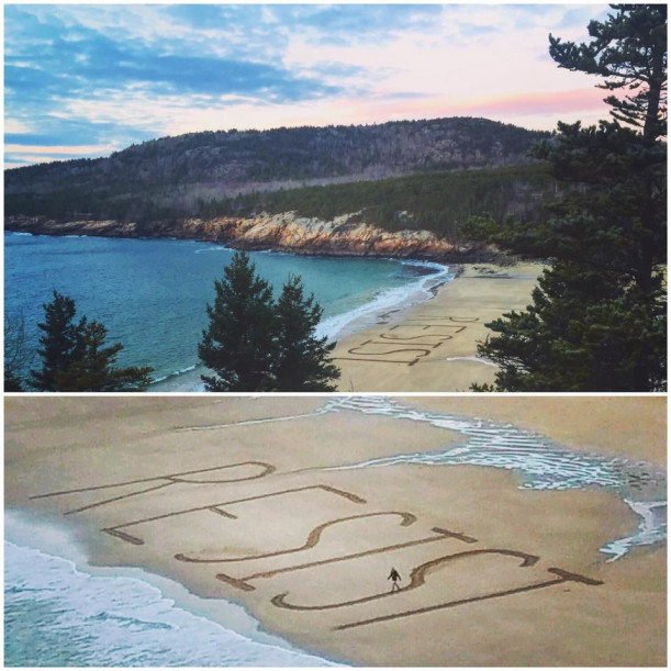 "Melissa Relyea Ossana '91 was one of 12 people who helped carve this message onto Sand Beach in Acadia National Park. She is pictured in the bottom image in the ""S""."