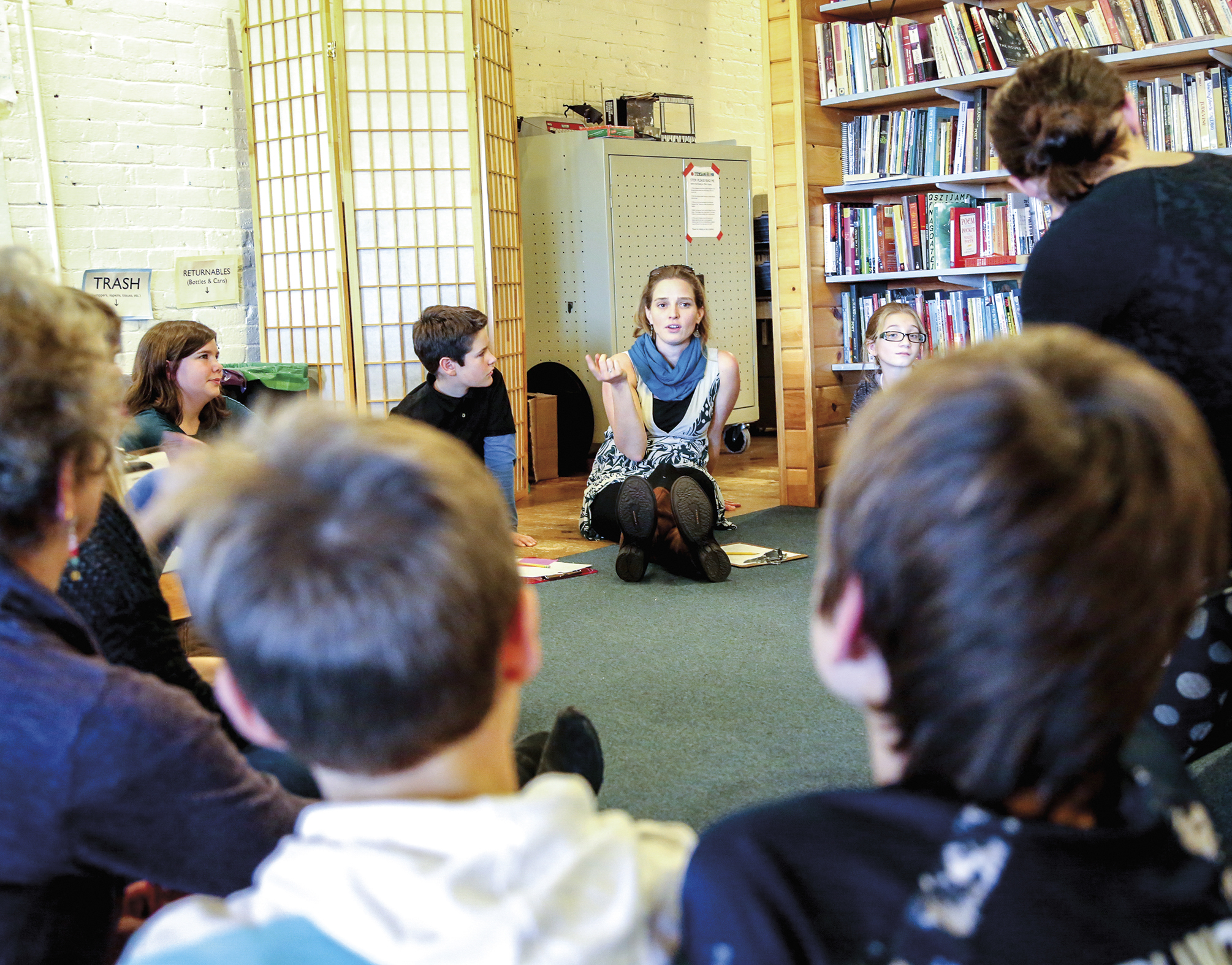 Marjolaine Whittlesey '05 greets a new group of middle schoolers to the Telling Room for the launch of its new after-school program, The Writers Block.