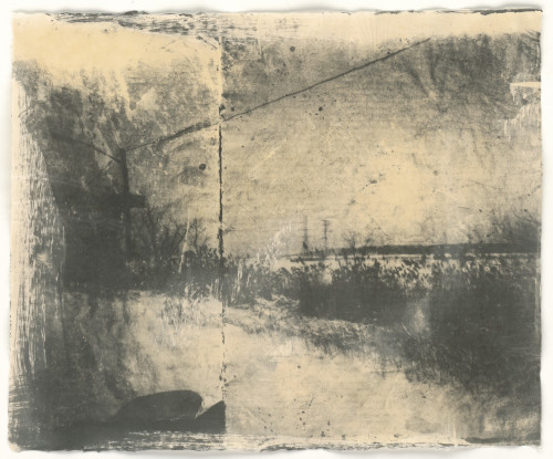 Division, diptych paper negative, liquid emulsion on rice paper, 20x16 inches, 2015.