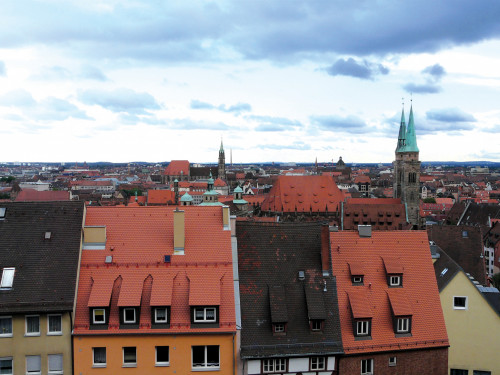 The historic center of Nuremburg, as seen from the Imperial Castle of Nuremburg.