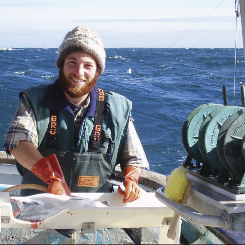 Aboard Myriad off southeast Alaska in 2004, Edward Stern '03 cleans coho salmon.