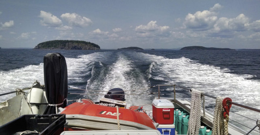 Leaving Frenchman Bay's Porcupine Islands behind as COA's M/V Osprey heads to Mount Desert Rock.