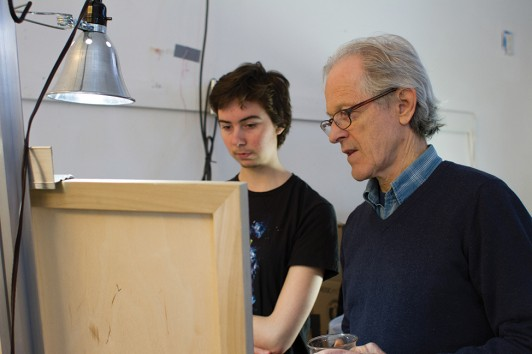 Ernie McMullen assists Mackenzie Watson '16 during one of his final classes, Problems in Painting: Techniques, Skills, and Vision.