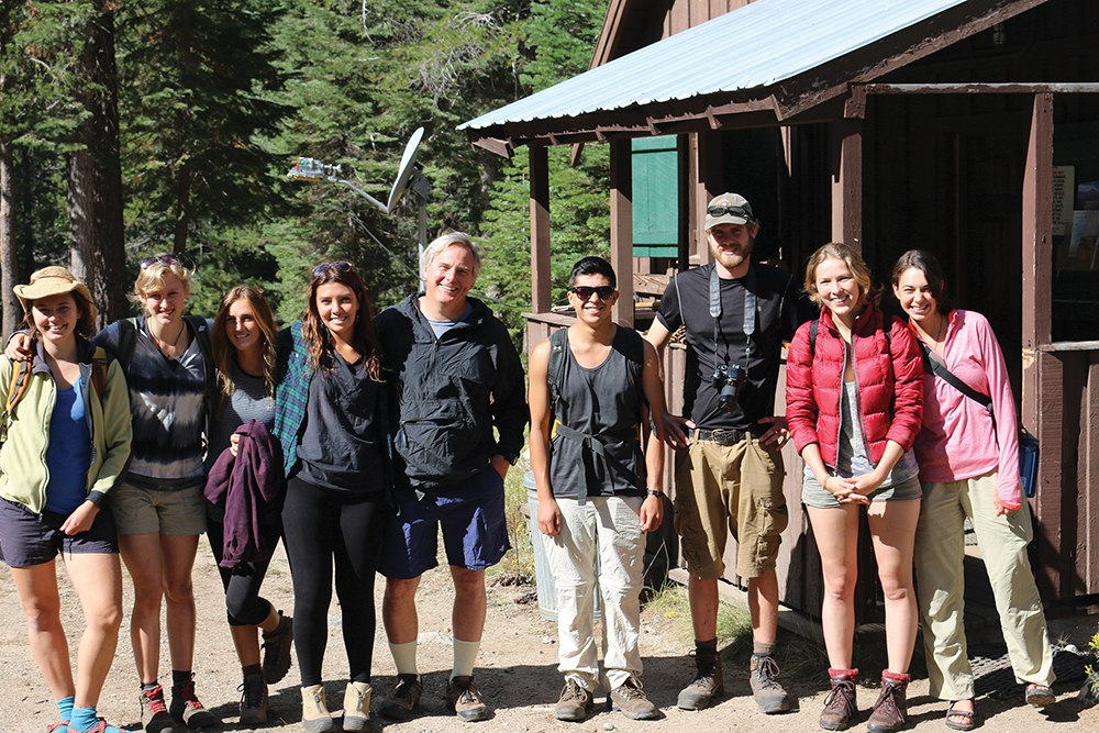Participants in the Great West course: from left, Arianna Rambach '16, Anneke Hart '16, Meaghan Lyon '16, Kristin Ober '16, faculty member Ken Cline, Chris Phillips '15, Erickson Smith '15, Zinta Rutins '15, Madeleine Motley '16.